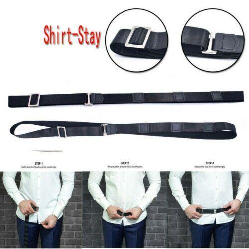 Men Women Adjustable Shirt-Stay Belt Black Elastic Tucked Shirt Holder Nylon
