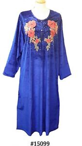 15099-Ladies-039-knitted-Velvet-multi-colour-embroidery-floral-long-kaftan-XL