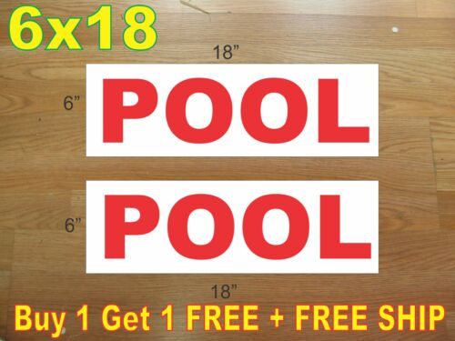 """6/""""x18/"""" POOL Red REAL ESTATE RIDER SIGNS Buy 1 Get 1 FREE 2 Sided"""