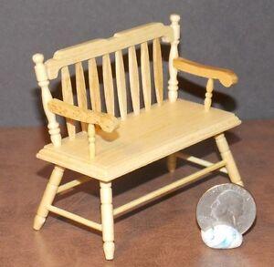 Image Is Loading Dollhouse Miniature Deacon Bench Oak Finish 1 12