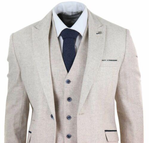 Mens Wool Tweed 3 Piece Vintage Peaky Blinders Suit Cream Retro Classic