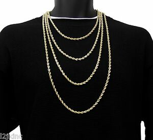 a207746d205 Mens 14K Yellow Gold Plated French Rope Chain Necklace 3mm 4mm 5mm ...