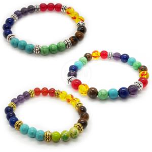 7 piedras de curación de cristal pulsera de ansiedad Chakra Joyería Perlas Natural