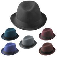 Men Women Fedora Hats Trilby Bowler Cap Derby Hard Felt Black Band US Size 7 1/4
