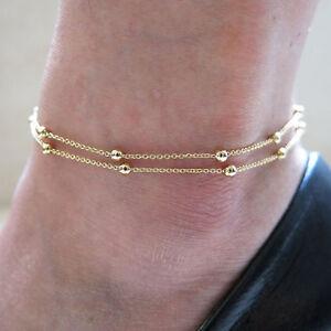 Damen Fußkettchen Fusskette Blogger Farbe Gold Kette Schmuck Geschenk Kugel Bn