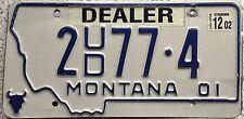 FREE UK POSTAGE American 2001 Montana Dealer USA License Number Plate 2 77 4