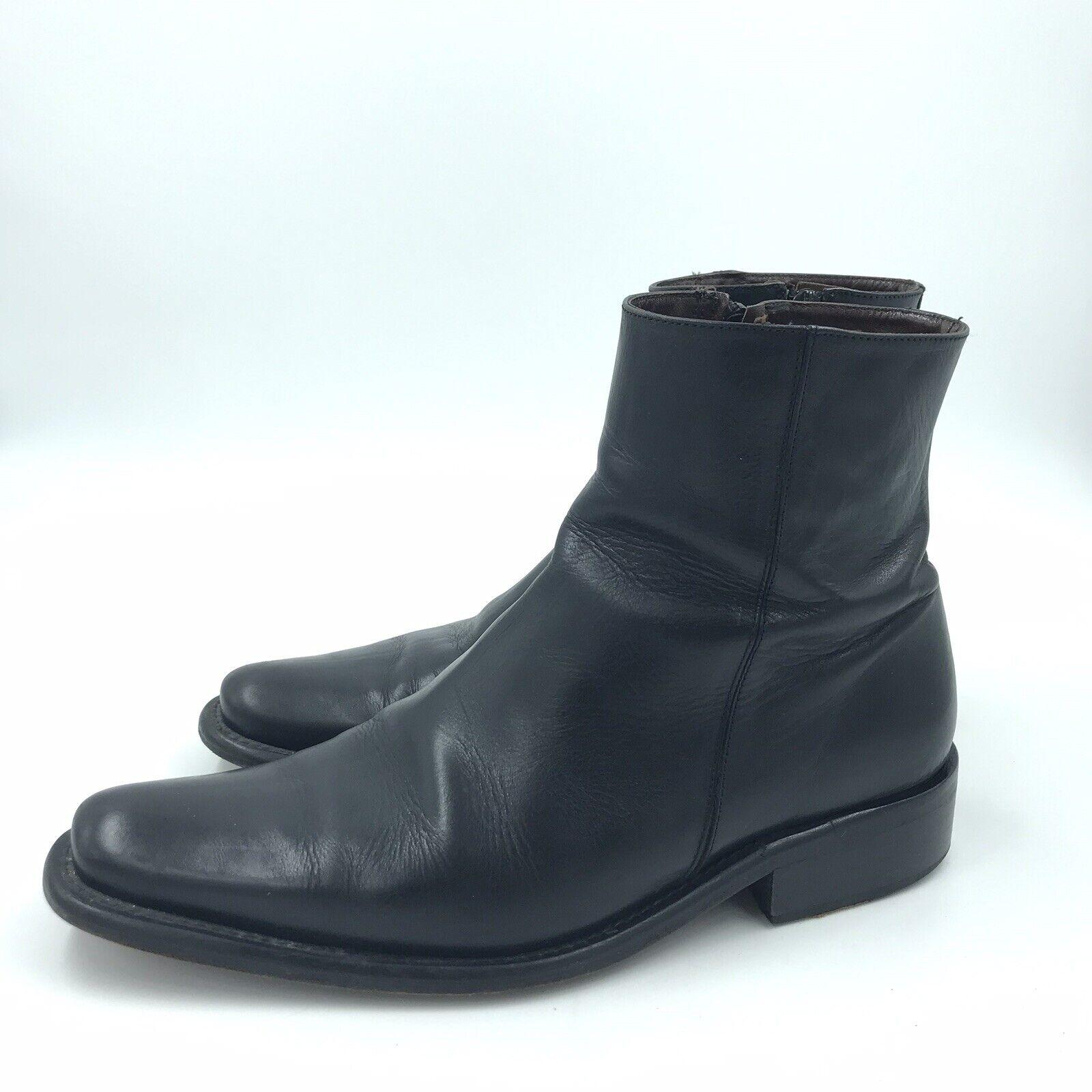 Martinelli Mens Leather Boots Sz 42C Soft Black Made in Spain U.S. Sz 9 Zipper