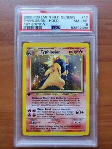 Pokemon Neo Genesis Typhlosion 1st Edition 17/111 PSA 8 with Swirl Fresh Grade