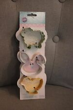 BRAND NEW Wilton BABY ANIMALS 3 Piece Cookie Cutter Set Bunny, Sheep and Chick