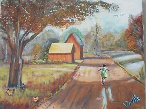 Original-Home-Country-Scene-painted-by-US-artist-signed-acrylic-collage-16-x20