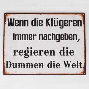Formano-Schild-Wandbild-mit-Spruch-Kluegere-aus-Metall-braun-schwarz-35-x-26-NEU