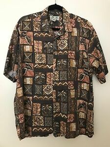 KONA-KAI-TRADING-CO-BROWN-COTTON-RAYON-TAPA-HAWAIIAN-PRINT-ALOHA-SHIRT-LARGE