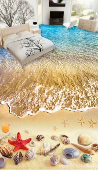 3D Starfishs Beach 53 Floor WallPaper Murals Wall Print 5D AJ WALLPAPER UK Lemon