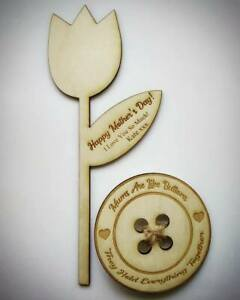 Personalised-Wooden-Tulip-Flower-And-Button-Mother-039-s-Day-Gift