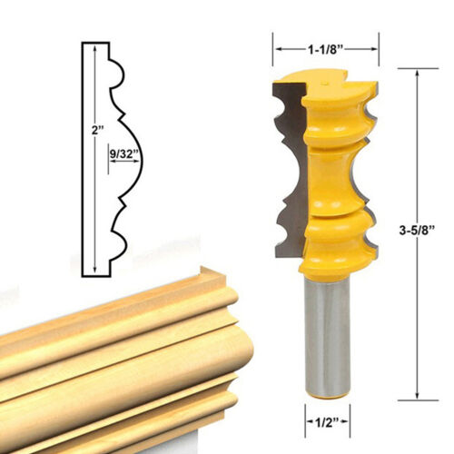 """Large Elaborate Chair Rail Molding Router Bit 1//2/"""" Shank For Woodworking Tool"""