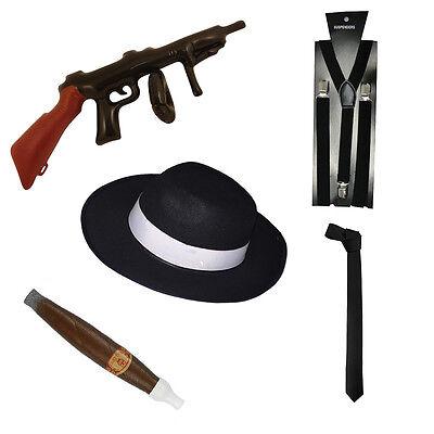 Adult Gangster 1920s Al Capone Fancy Dress Braces Hat Spats Tie Accessory Mens