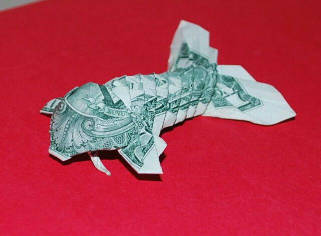 Money Origami Koi Fish US Dollar 1 Bill Graduation Birthday Gift Decor