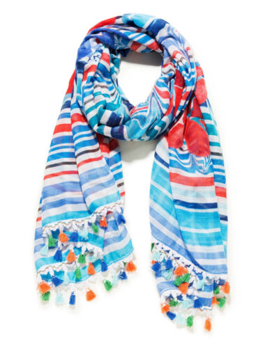 Desigual Foulard Striped Stories Azul Heritage, Scarf Women's Scarf Cloth Scarf