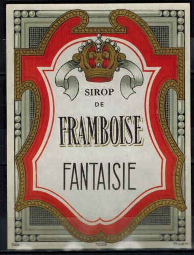 Ancien chromo Doré Etiquette sirop de Framboise Fantaisie Réf.119d Blason
