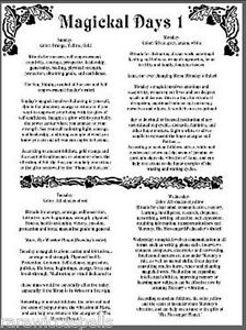 2pgs-Magickal-Days-Correspondence-for-Wicca-Book-of-Shadows-Pagan-Occult-Ritual