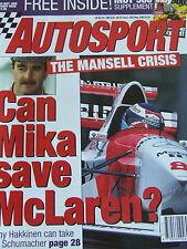 AUTOSPORT MAGAZINE MAY 1995 MANSELL CRISIS CAN MIKA SAVE MCLAREN MONACO GP EXCL
