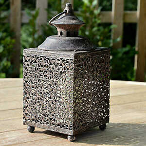 Vintage-Chic-Square-Moorish-Garden-Metal-Lattice-Lantern-Candle-Holder-27cm