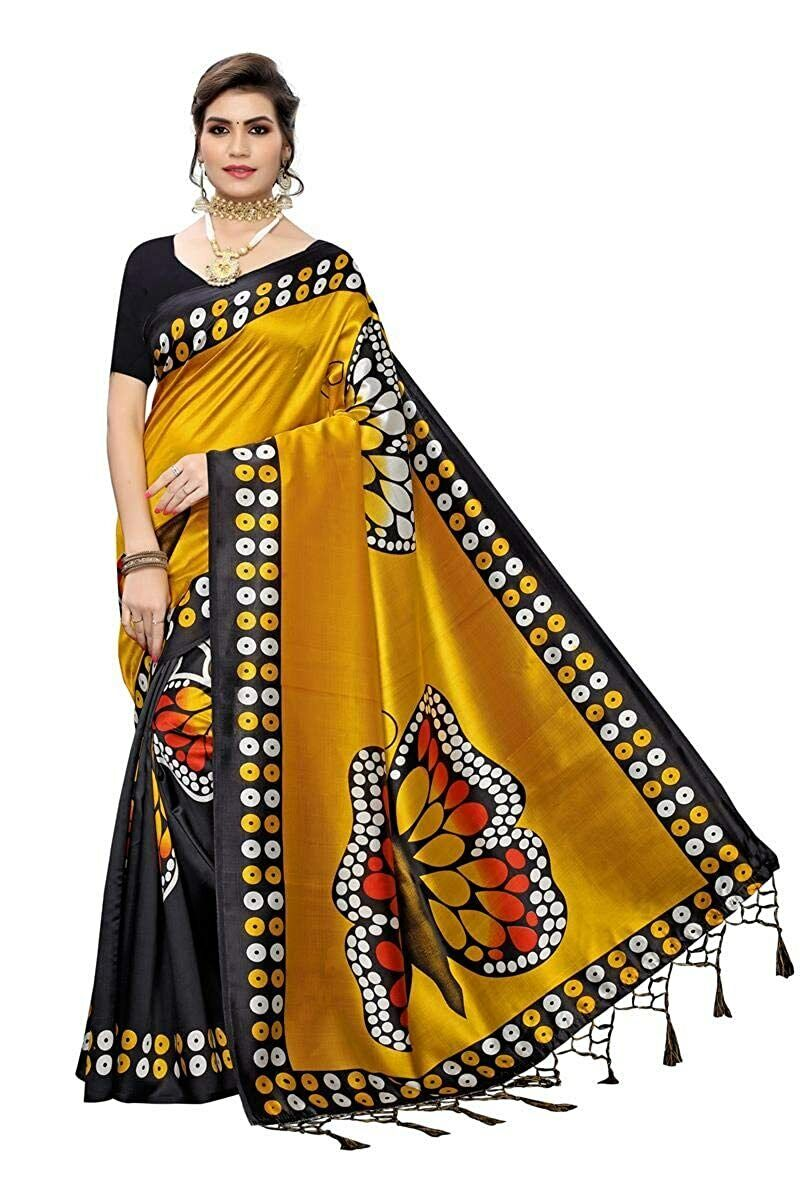 Indian Women's Art Silk Printed Yellow Saree With Blouse Piece Free Shipping