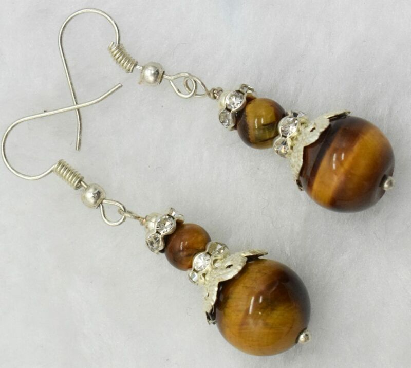 #dc-260 Fine 6mm&12mm Round Yellow Tiger's Eye 925 Silver Hook Earrings