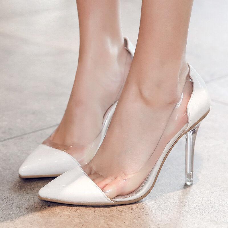 Elegant Spitz Stiletto Damen Schuhe Pumps Transparent Abendschuhe Sexy High Heel
