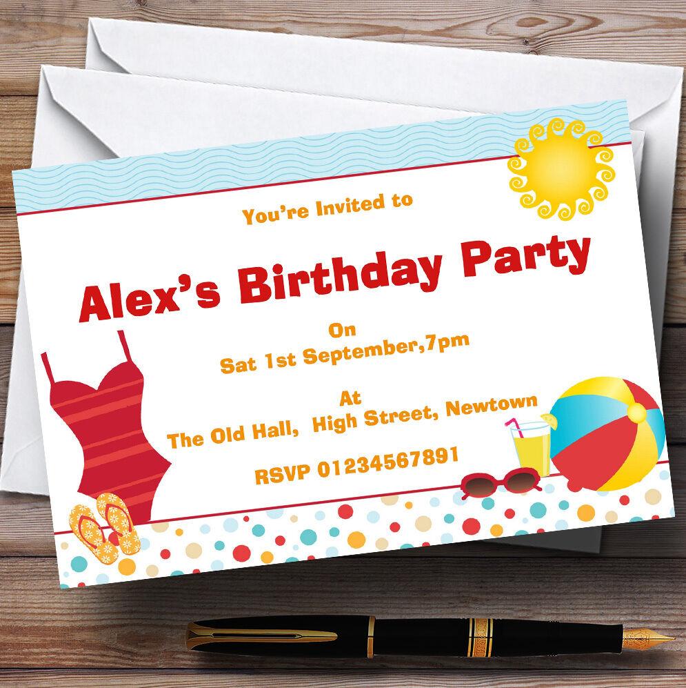 Beach Sun Pool Theme Personalised Birthday Party Invitations - Th7