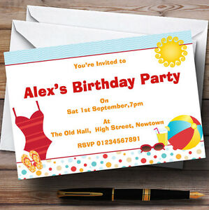 Image Is Loading Beach Sun Pool Theme Personalised Birthday Party Invitations