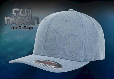 New Hurley Del Mar Hermosa Mens Heather Blacked Flex Fit Cap Hat
