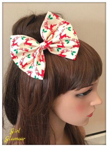 Christmas Hair Bow Hairband Headband Bandana Tie Band Fabric Snowman Gingerbread