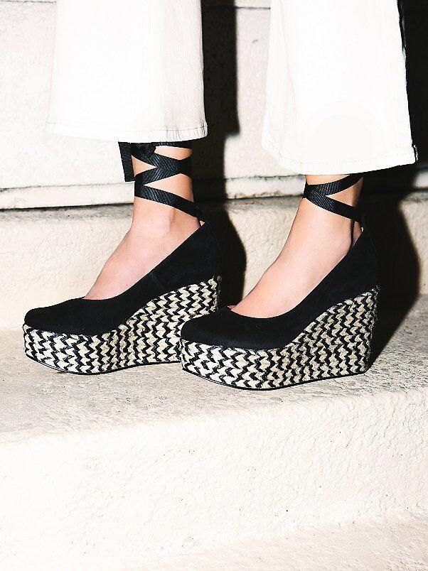 FREE PEOPLE Schuhe CHARADE BLACK ESPADRILLE PLATFORM WEDGE PUMP BLACK CHARADE SUEDE 39 NIB f8d508