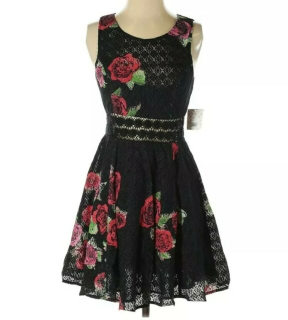 Free People Dress Size 4 Black Red Roses Fit n Flare Crochet Sleeveless