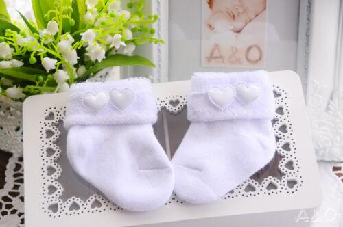 Thermo Socken weiße Baby Söckchen Frottee Erstlingssöckchen Weiß Taufe  50 56 62
