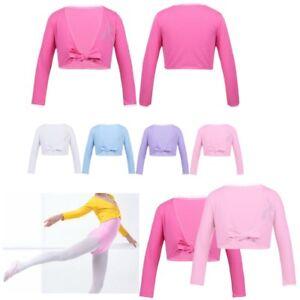 Girls-Long-Sleeve-Bolero-Shrug-Kids-Front-Knot-Cardigan-Ballet-Dress-Wrap-Top