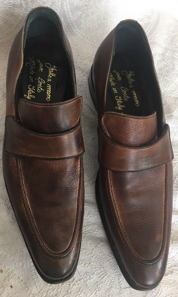 Scarpe casual da uomo  Certo Shoe Brown Leather Top Strap Stitching Size 40 1/2 Us 8-8.5