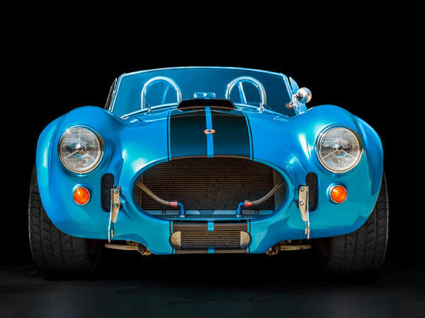 Gasoline Images  Shelby Cobra Keilrahmen-Bild Oldtimer Sportwagen blau