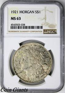 1921-P Morgan Silver Dollar NGC MS63