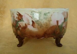 Atg-D-amp-Co-France-HandPainted-Mushrooms-Porcelain-Footed-Serving-Bowl-1894-1900