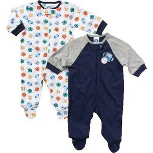 a14e1baec402 Gerber Boys 2-Pack Sports Sleep  N Plays Zip Front Size 0-3M BABY ...