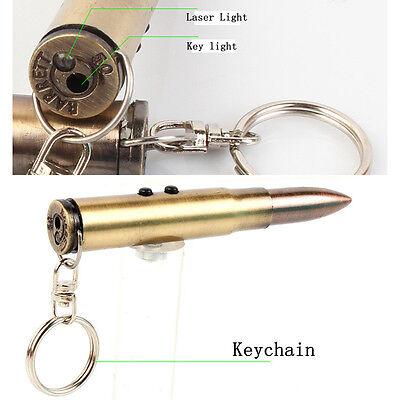Mutifunction Vintage Bullet Shape Keychain Laser Light Ballpoint Pen Key Ring