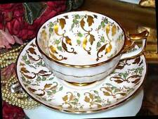 ROYAL CHELSEA Cup & Saucer LIME & GOLD CHINTZ England Bone China Teacup
