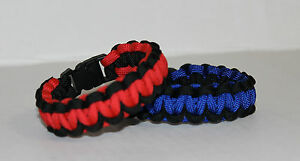 Policeman Firefighter Paracord Bracelet Custom Fit Thin Red Line