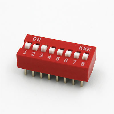 10* Red 2.54mm Pitch 8-Bit 8-Positions Ways Slide Type DIP Switch