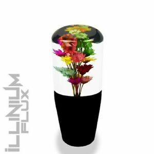 6 INCH MULTICOLOR FLOWER BOUQUET CLEAR AND BLACK DRIFT SHIFT KNOB 12X1.5 K04