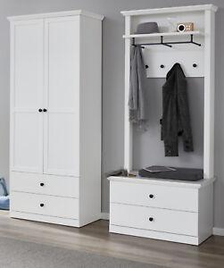 Garderoben Set Flur Garderobe Weiß Landhaus Mit Schuhschrank Paneel