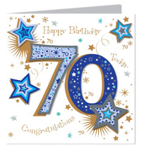 Large Talking Pictures 70th Birthday Card Male High Quality With Embellishment
