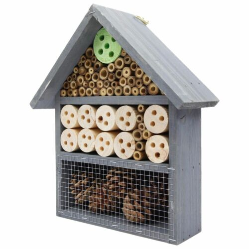 Large En Bois Insecte Bee Hive Jardin Nichoir maison en bois naturel Shelter hotl 5